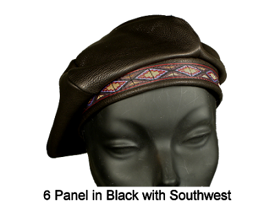 Deerskin Leather Beret with Ribbon Design