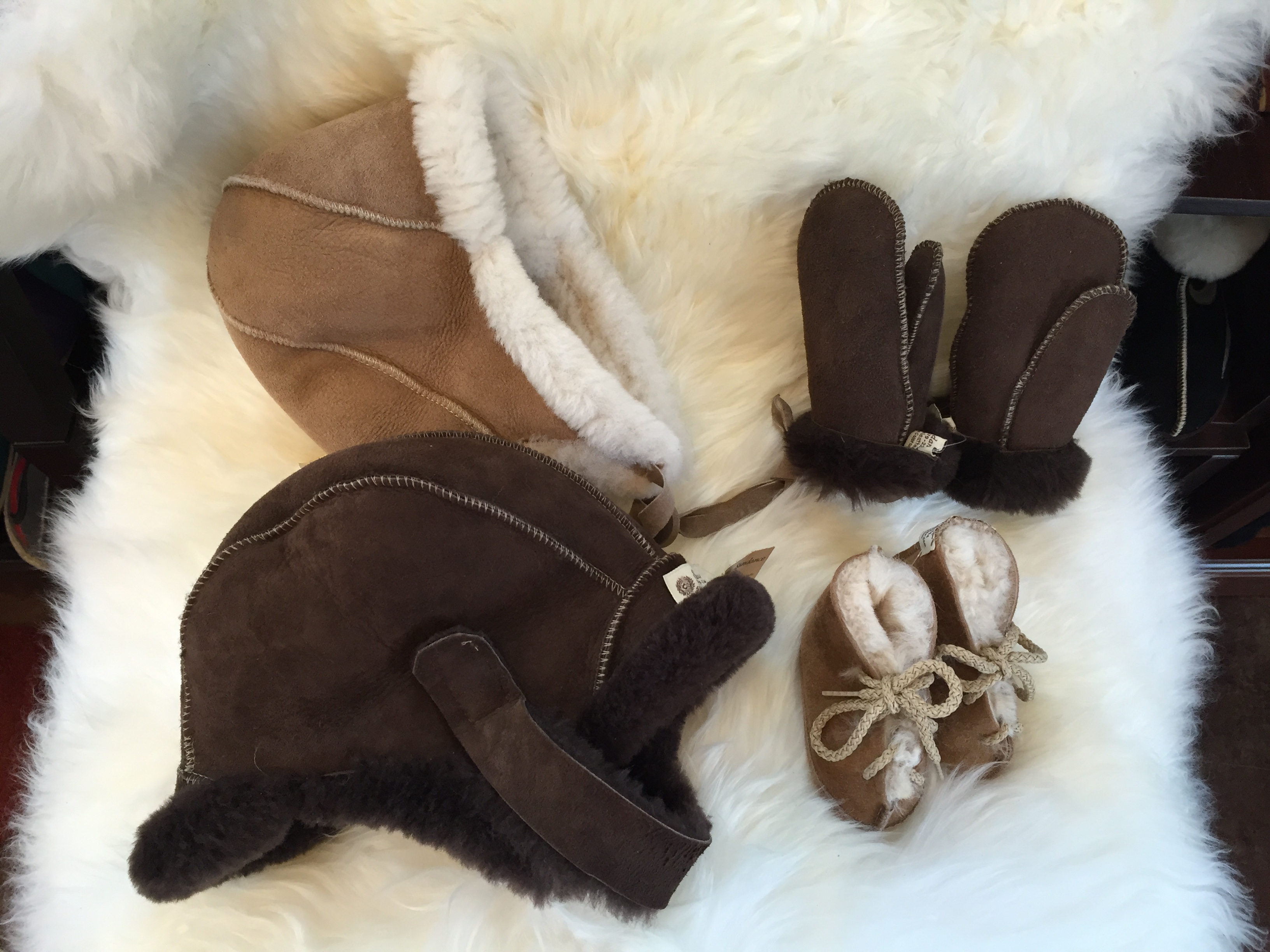 Sheepskin Baby Hats Mittens and Slippers